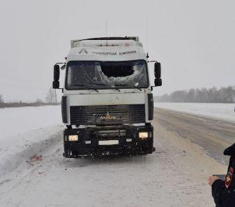 Под Тамбовом водителю большегруза в голову прилетел кусок льда