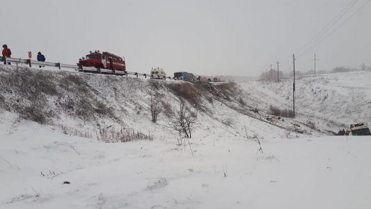 В ГИБДД уточнили: автобусы на тамбовской трассе снесло ветром